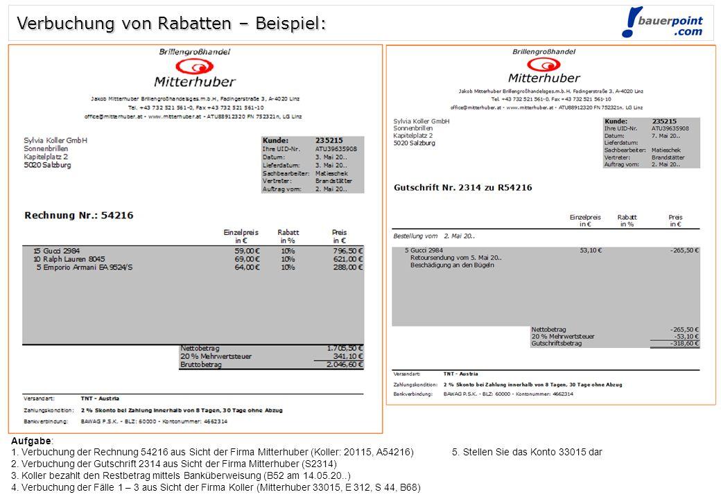 Verbuchung von Rabatten – Beispiel: