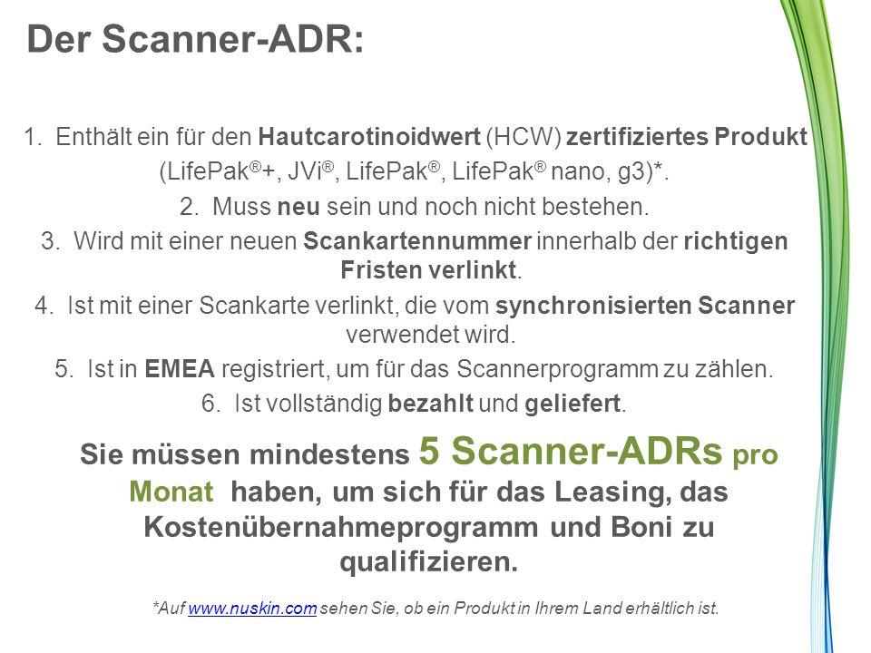 Der Scanner-ADR: Enthält ein für den Hautcarotinoidwert (HCW) zertifiziertes Produkt. (LifePak®+, JVi®, LifePak®, LifePak® nano, g3)*.
