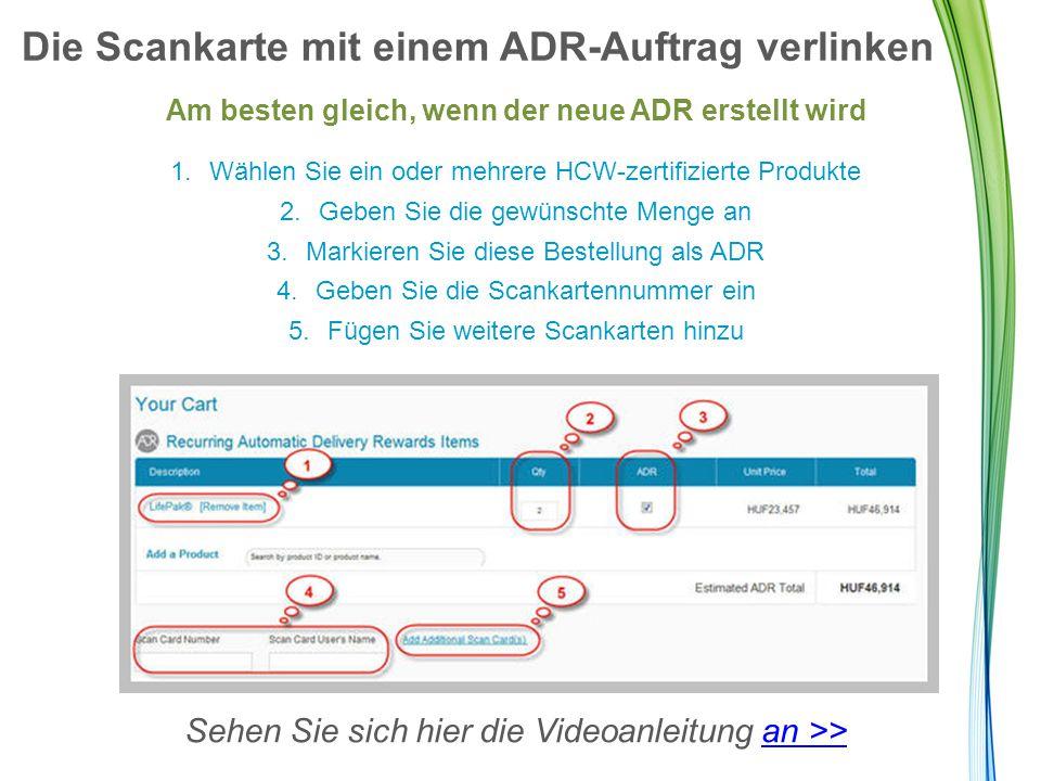Die Scankarte mit einem ADR-Auftrag verlinken