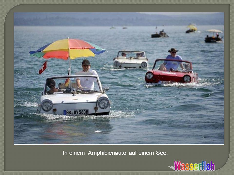 In einem Amphibienauto auf einem See.