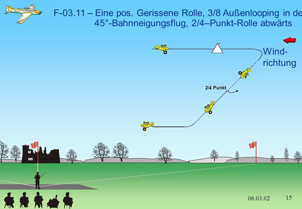 F-03.11 – Eine pos. Gerissene Rolle, 3/8 Außenlooping in den 45°-Bahnneigungsflug, 2/4–Punkt-Rolle abwärts