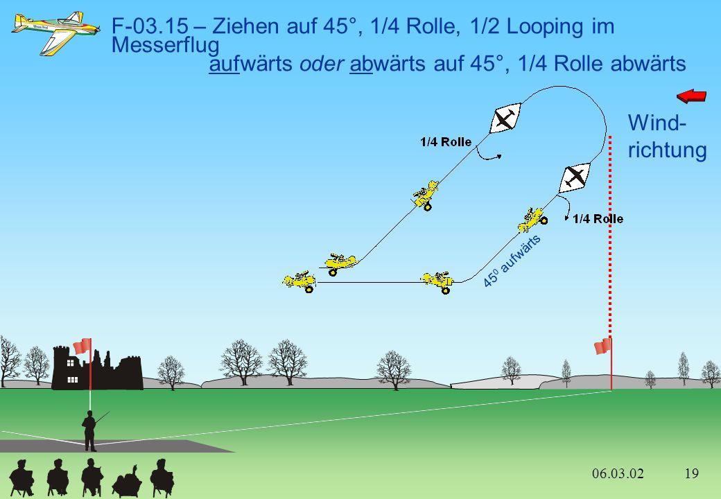 F-03.15 – Ziehen auf 45°, 1/4 Rolle, 1/2 Looping im Messerflug aufwärts oder abwärts auf 45°, 1/4 Rolle abwärts