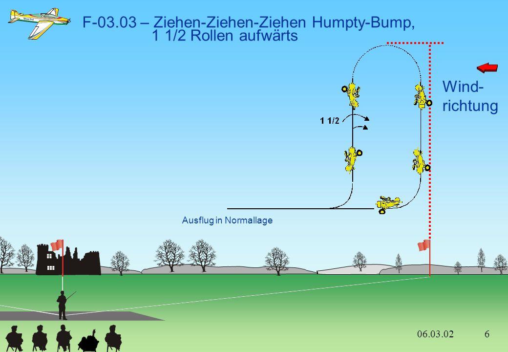F-03.03 – Ziehen-Ziehen-Ziehen Humpty-Bump, 1 1/2 Rollen aufwärts