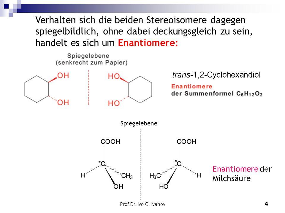 Verhalten sich die beiden Stereoisomere dagegen spiegelbildlich, ohne dabei deckungsgleich zu sein, handelt es sich um Enantiomere: