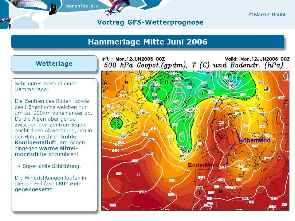Hammerlage Mitte Juni 2006 Wetterlage Höhenwind Bodenwind