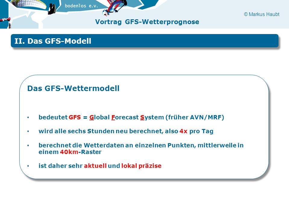 II. Das GFS-Modell Das GFS-Wettermodell