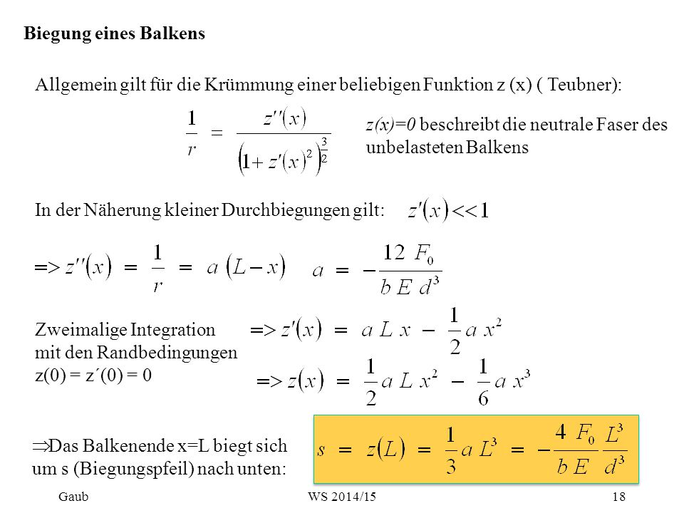 z(x)=0 beschreibt die neutrale Faser des unbelasteten Balkens