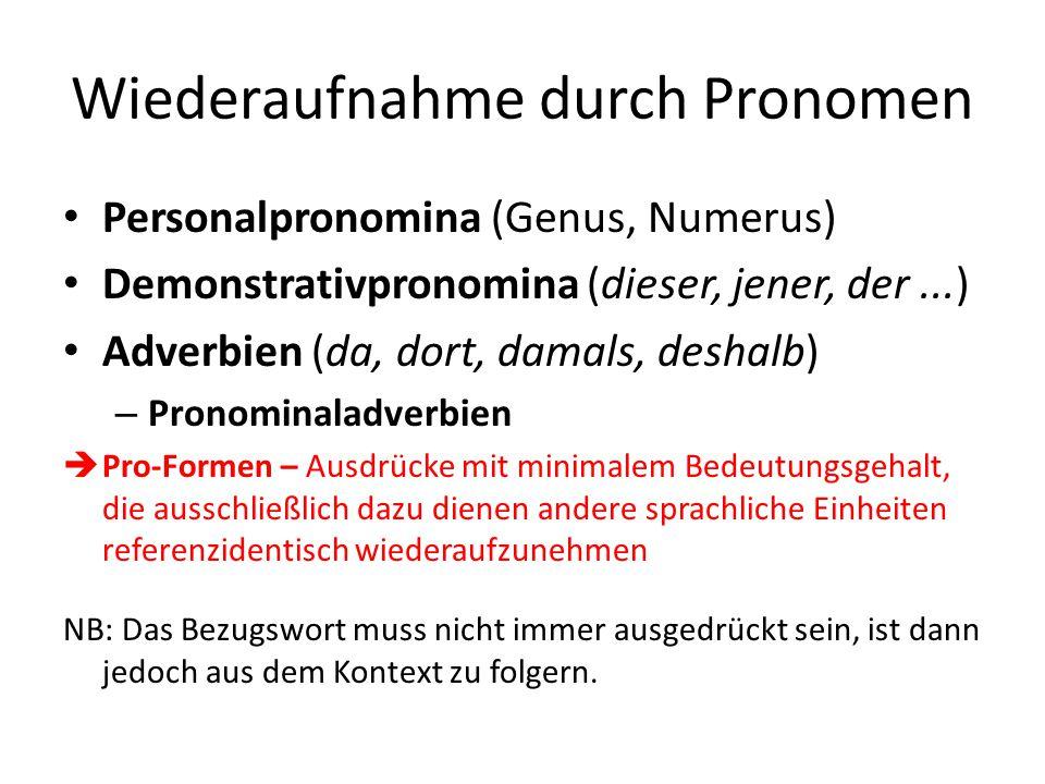 Wiederaufnahme durch Pronomen