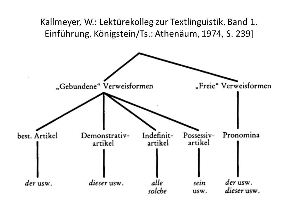 Kallmeyer, W. : Lektürekolleg zur Textlinguistik. Band 1. Einführung