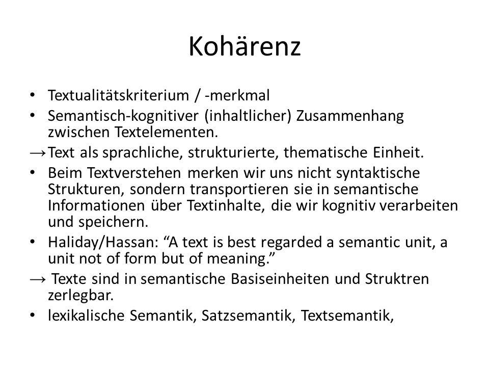 Kohärenz Textualitätskriterium / -merkmal