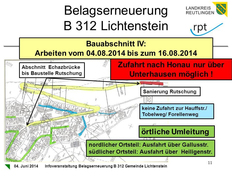 Zufahrt nach Honau nur über Unterhausen möglich !