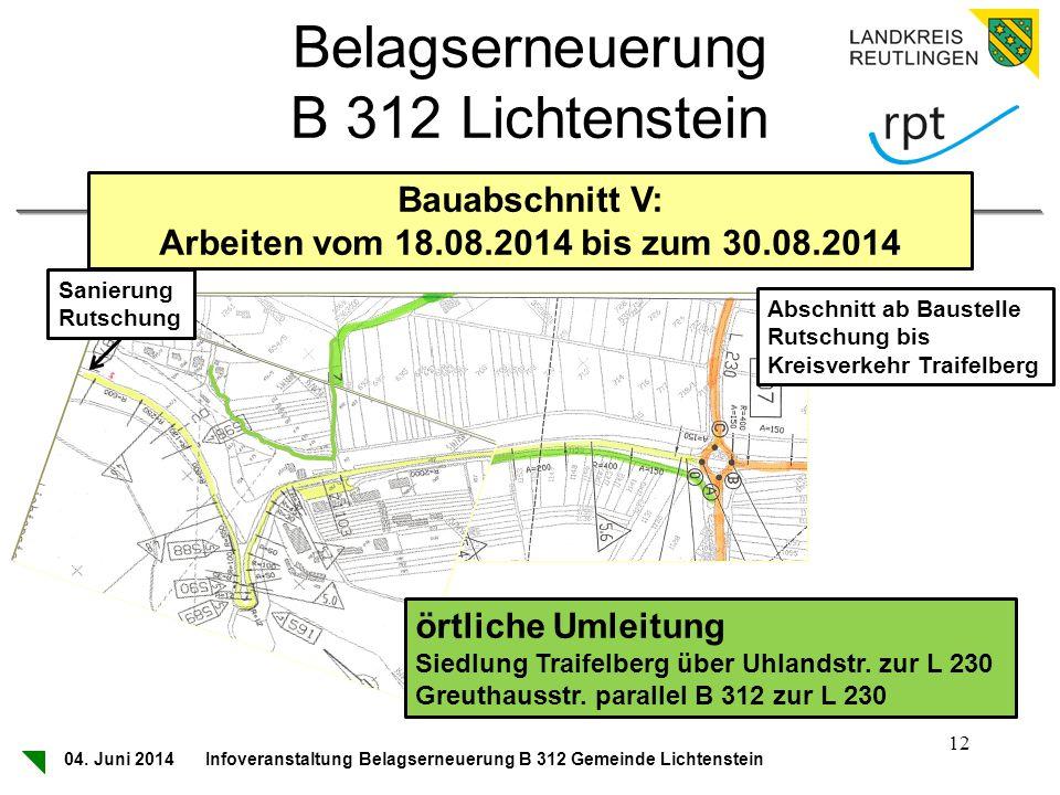 Belagserneuerung B 312 Lichtenstein Bauabschnitt V: