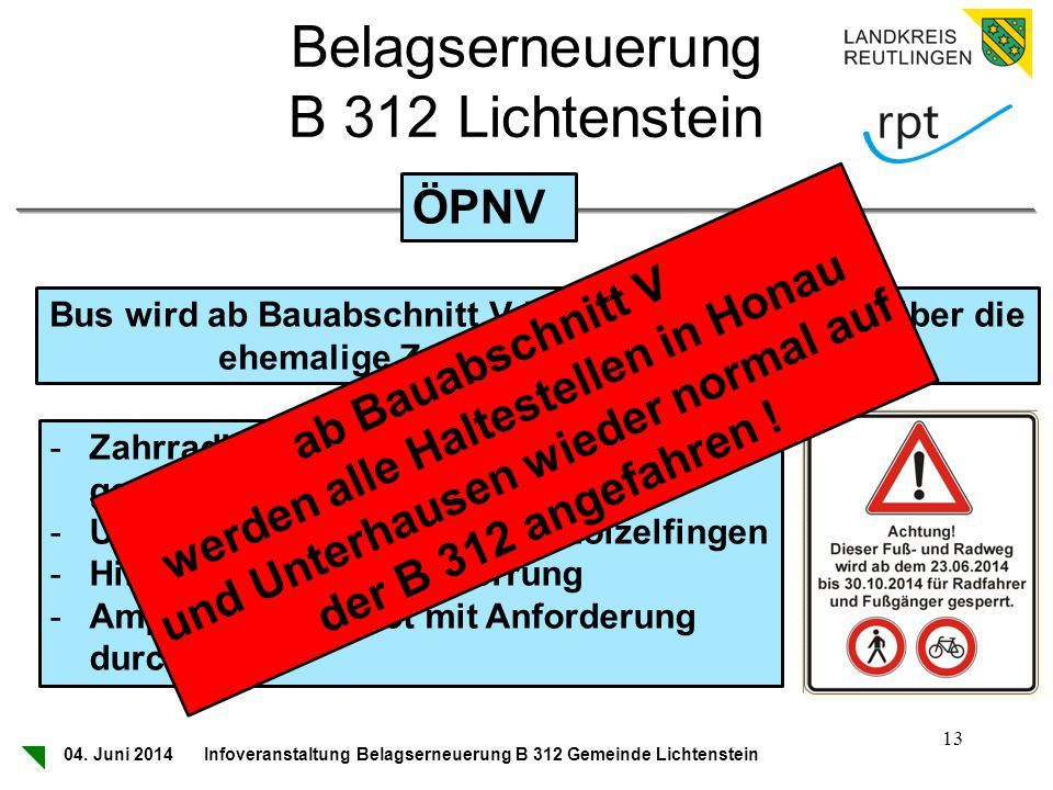 Belagserneuerung B 312 Lichtenstein ÖPNV