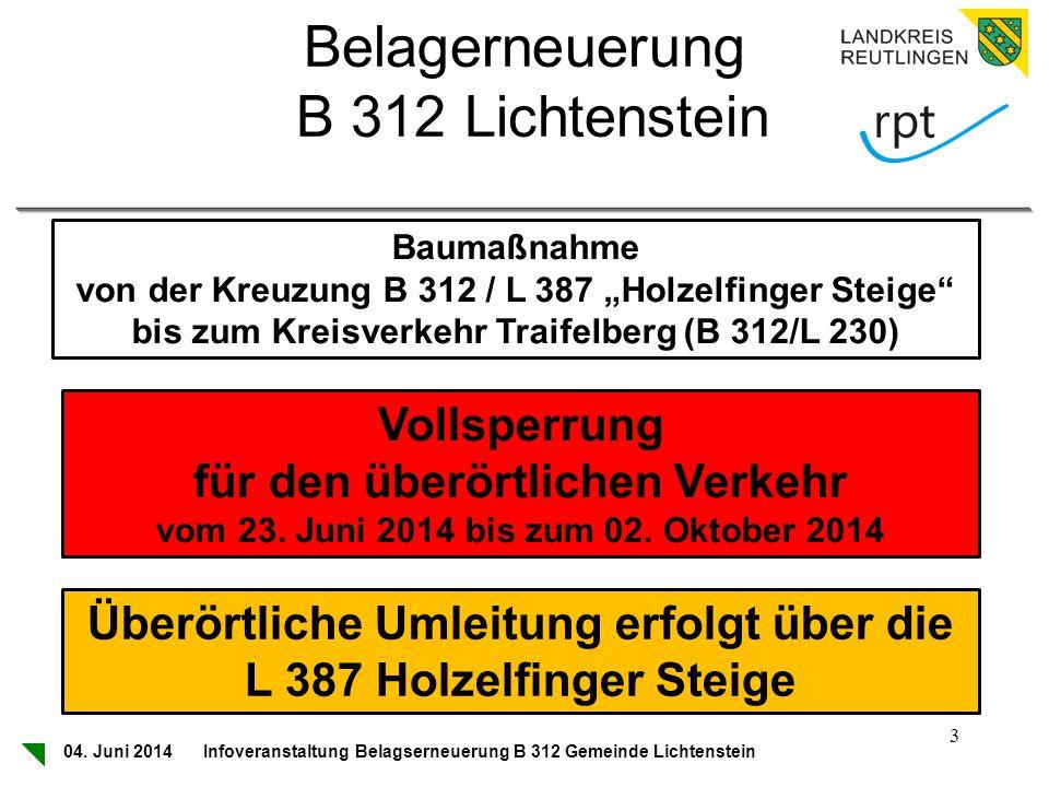 Belagerneuerung B 312 Lichtenstein Vollsperrung