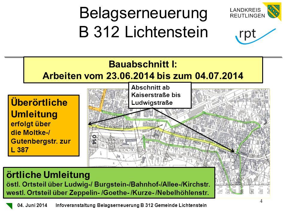 Belagserneuerung B 312 Lichtenstein Bauabschnitt I: