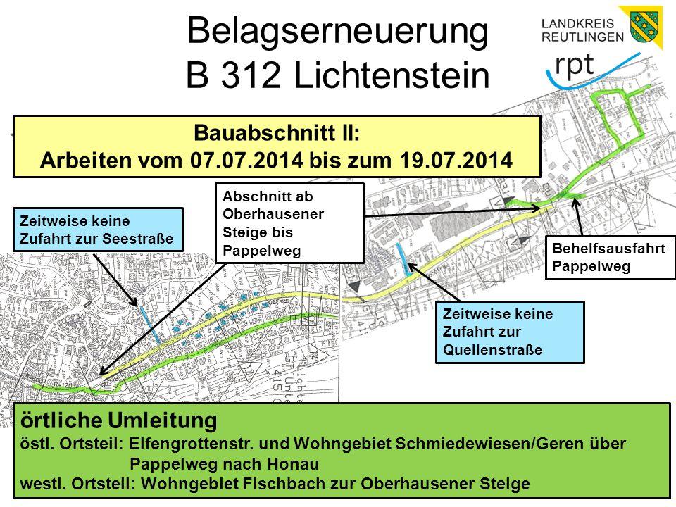 Belagserneuerung B 312 Lichtenstein Bauabschnitt II: