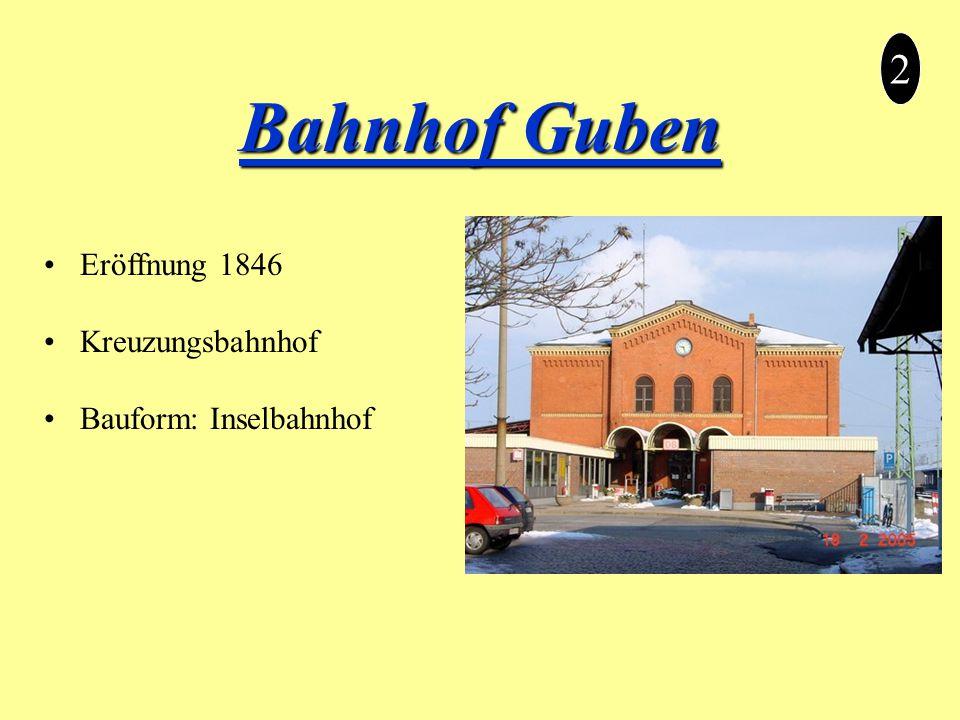 2 Bahnhof Guben Eröffnung 1846 Kreuzungsbahnhof Bauform: Inselbahnhof