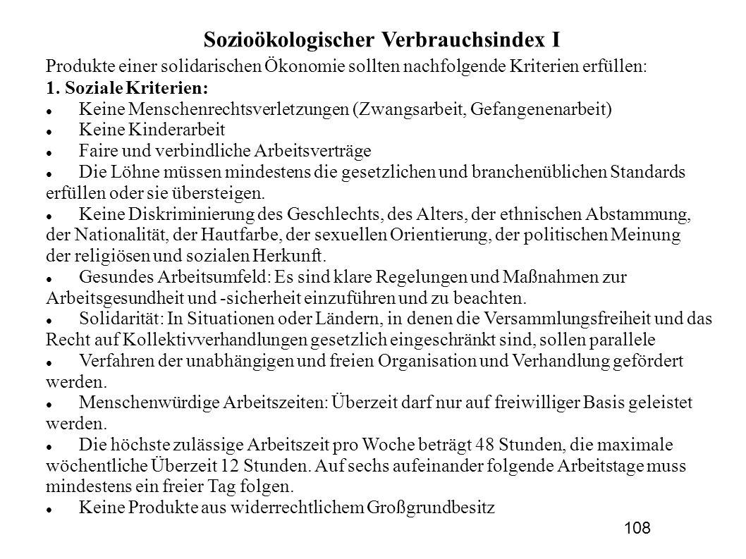 Sozioökologischer Verbrauchsindex I