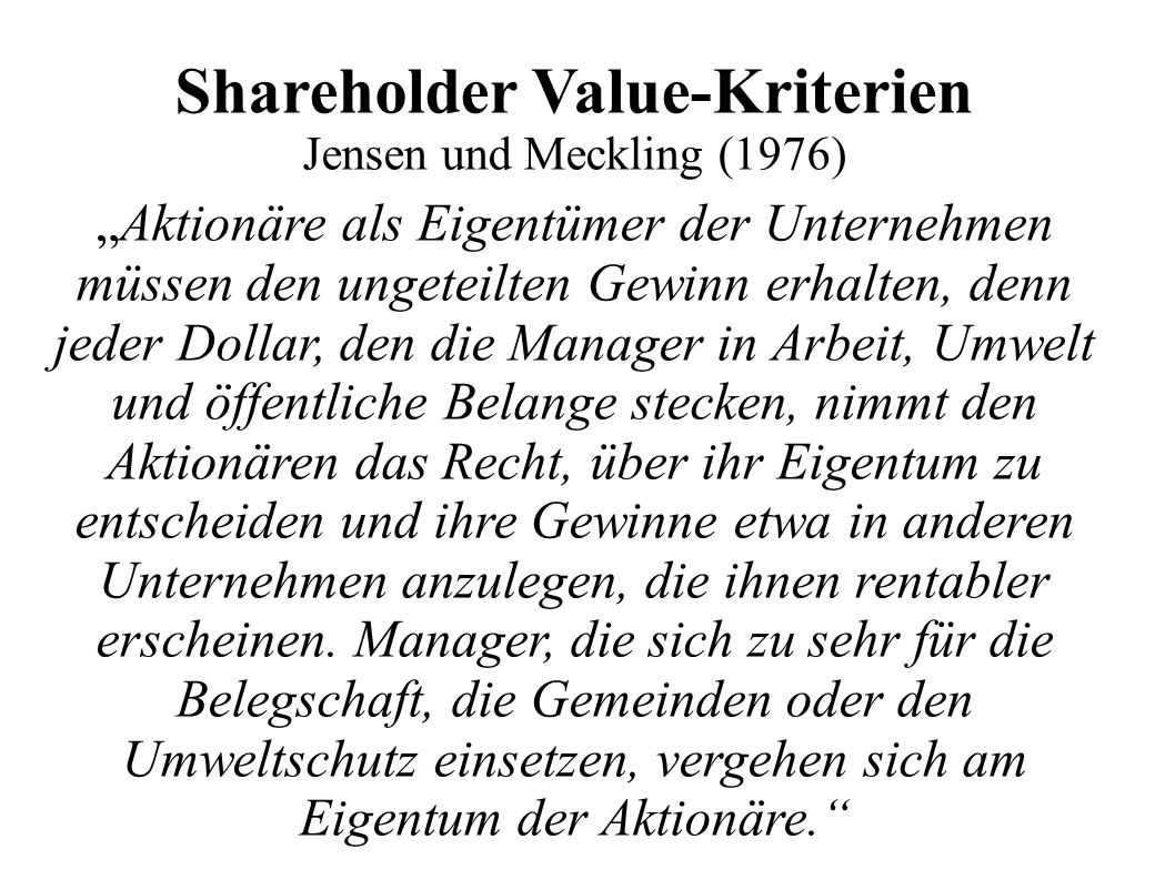 Shareholder Value-Kriterien