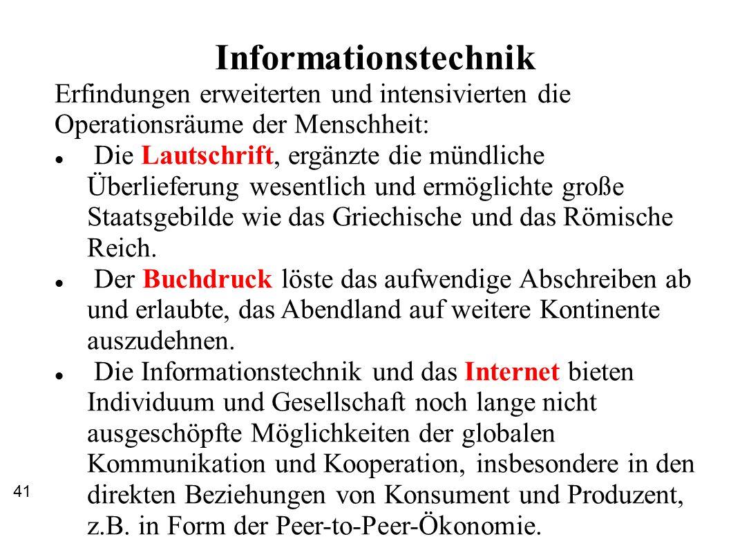 Informationstechnik Erfindungen erweiterten und intensivierten die