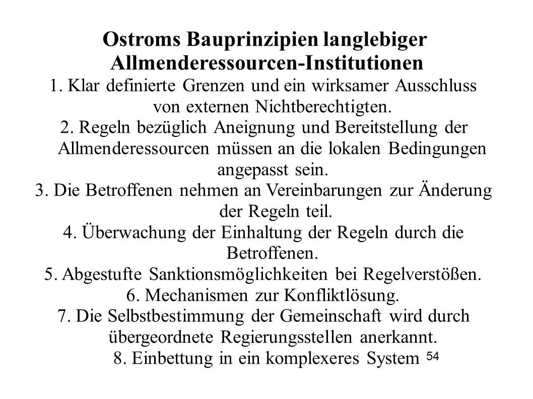 Ostroms Bauprinzipien langlebiger Allmenderessourcen-Institutionen