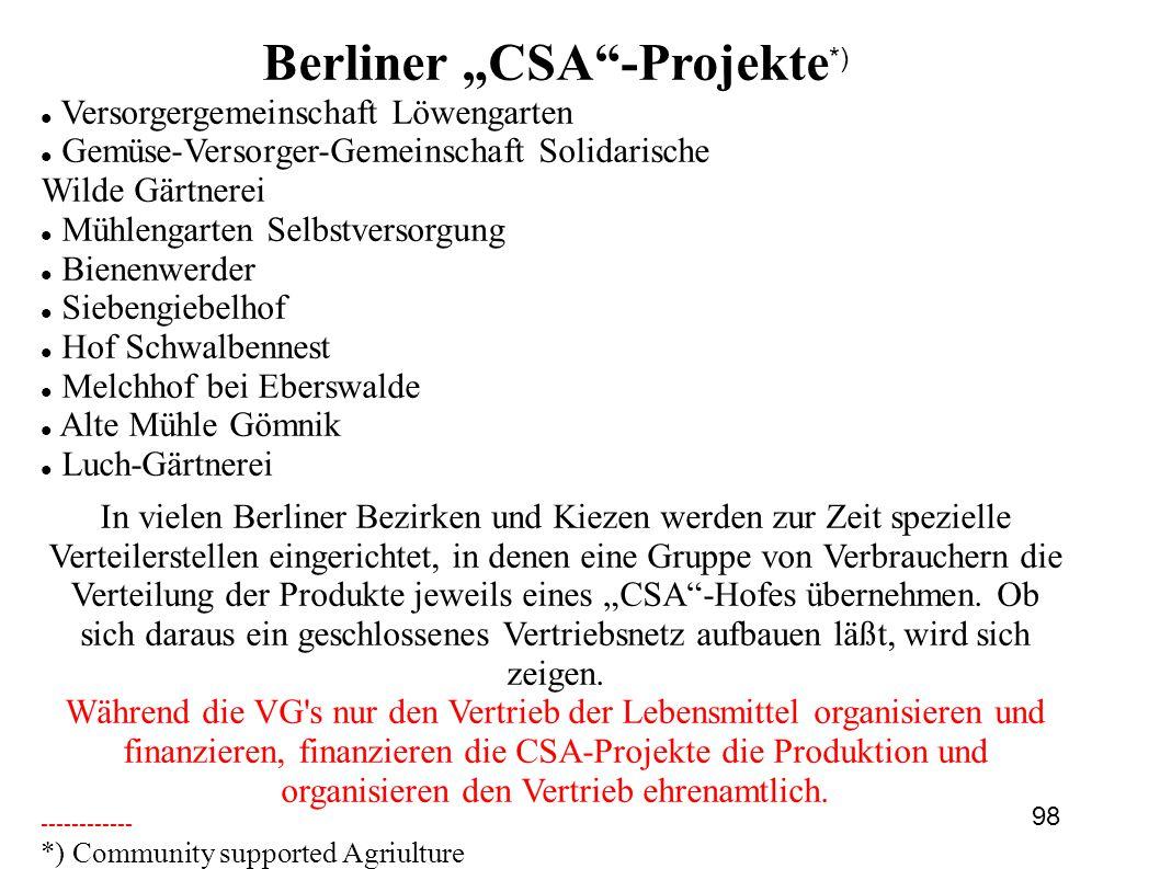 """Berliner """"CSA -Projekte*)"""