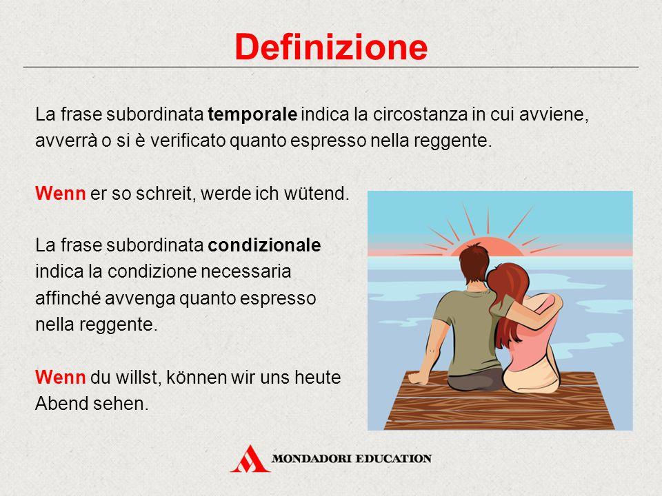 Definizione La frase subordinata temporale indica la circostanza in cui avviene, avverrà o si è verificato quanto espresso nella reggente.