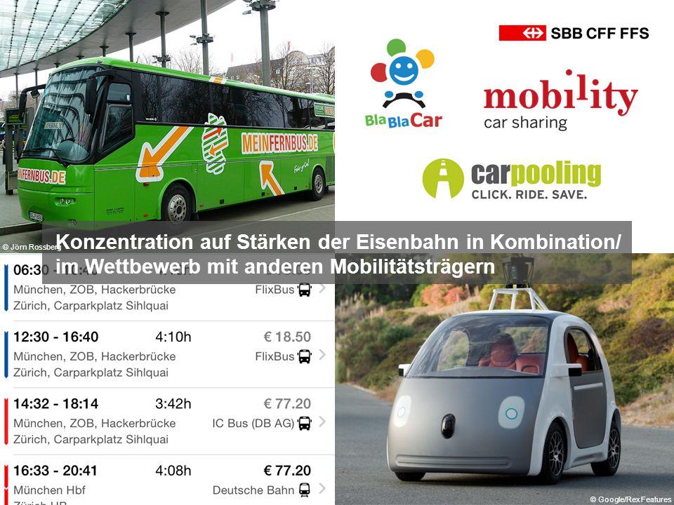 Konzentration auf Stärken der Eisenbahn in Kombination/ im Wettbewerb mit anderen Mobilitätsträgern