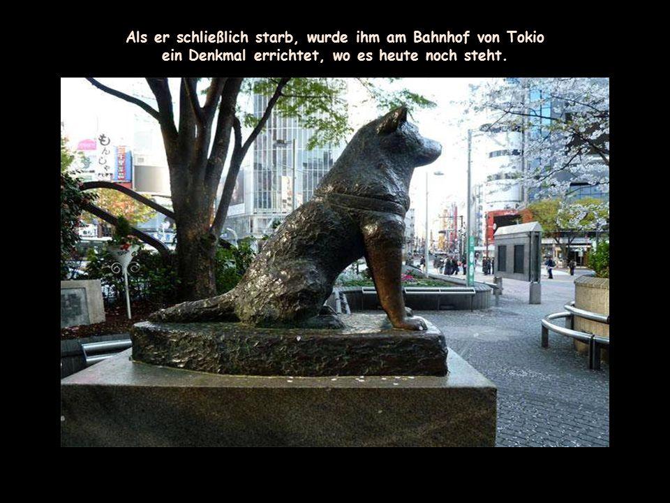 Als er schließlich starb, wurde ihm am Bahnhof von Tokio
