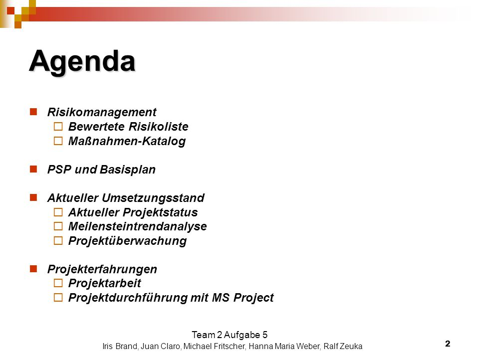 Agenda Risikomanagement Bewertete Risikoliste Maßnahmen-Katalog