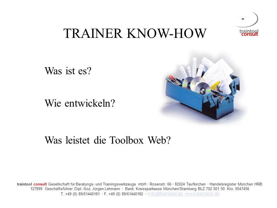 TRAINER KNOW-HOW Was ist es Wie entwickeln