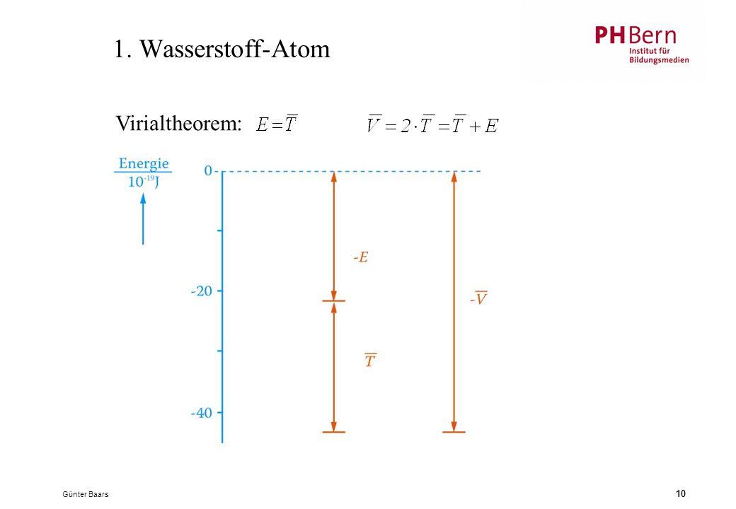 1. Wasserstoff-Atom Virialtheorem: Günter Baars