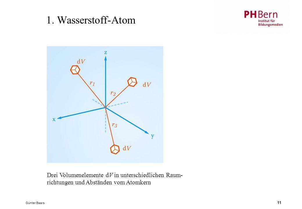 1. Wasserstoff-Atom Drei Volumenelemente dV in unterschiedlichen Raum-