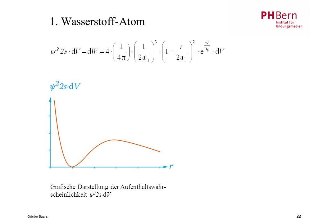 1. Wasserstoff-Atom Grafische Darstellung der Aufenthaltswahr-
