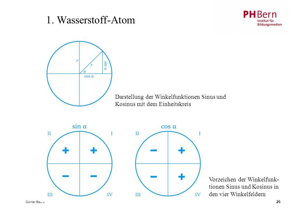 1. Wasserstoff-Atom Darstellung der Winkelfunktionen Sinus und Kosinus mit dem Einheitskreis.