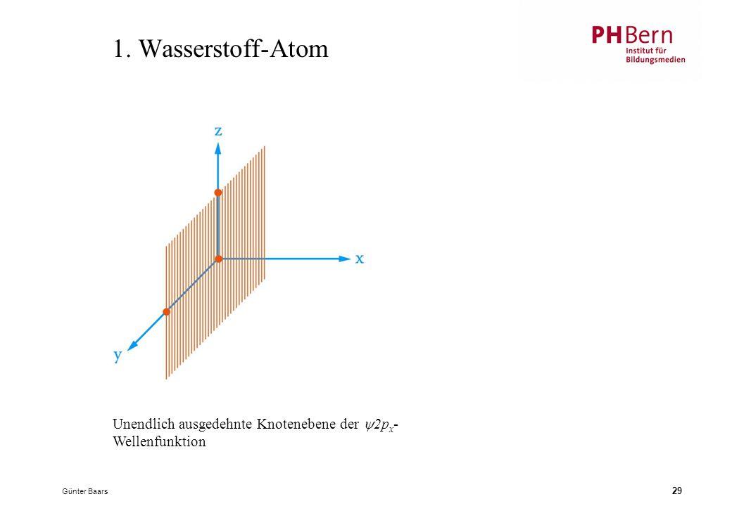 1. Wasserstoff-Atom Unendlich ausgedehnte Knotenebene der 2px-Wellenfunktion Günter Baars