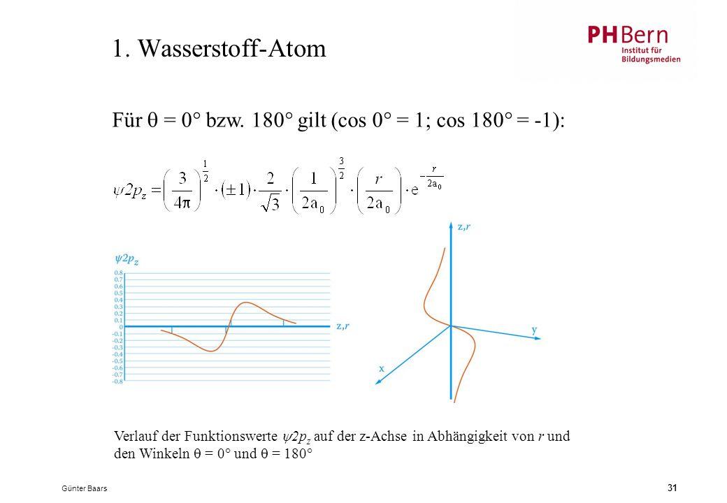 1. Wasserstoff-Atom Für  = 0° bzw. 180° gilt (cos 0° = 1; cos 180° = -1):
