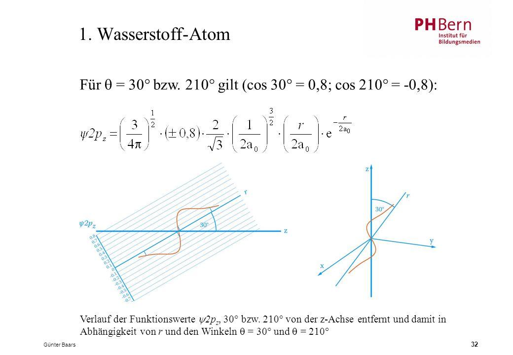 1. Wasserstoff-Atom Für  = 30° bzw. 210° gilt (cos 30° = 0,8; cos 210° = -0,8):