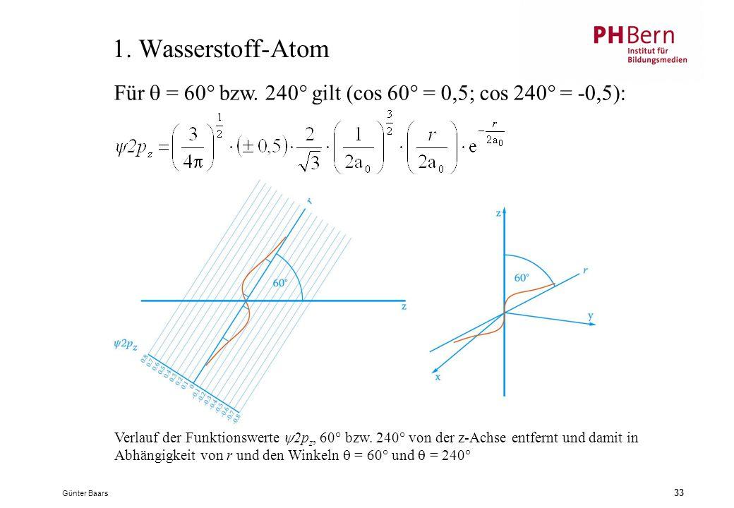 1. Wasserstoff-Atom Für  = 60° bzw. 240° gilt (cos 60° = 0,5; cos 240° = -0,5):