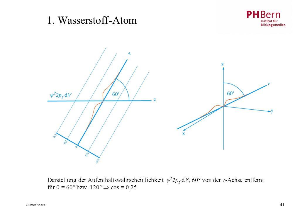 1. Wasserstoff-Atom Darstellung der Aufenthaltswahrscheinlichkeit 22pzdV, 60° von der z-Achse entfernt für  = 60° bzw. 120°  cos = 0,25.
