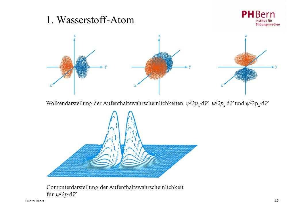 1. Wasserstoff-Atom Wolkendarstellung der Aufenthaltswahrscheinlichkeiten 22pxdV, 22pzdV und 22pzdV.