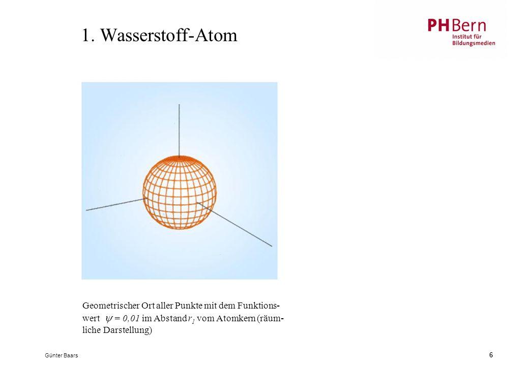1. Wasserstoff-Atom Geometrischer Ort aller Punkte mit dem Funktions-