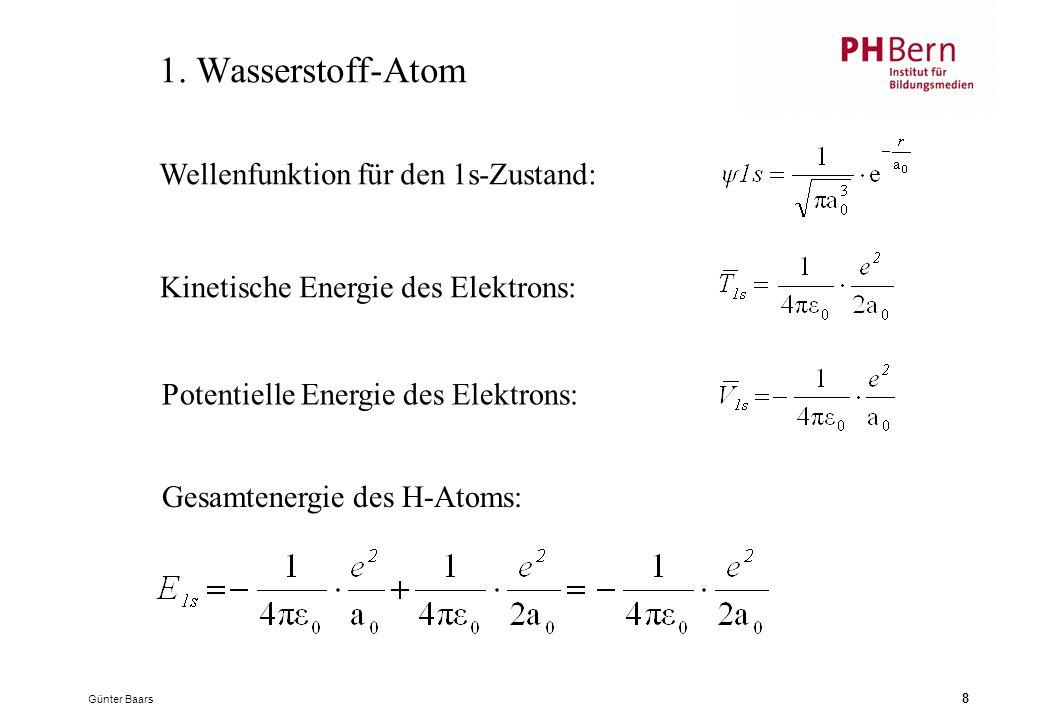 1. Wasserstoff-Atom Wellenfunktion für den 1s-Zustand: