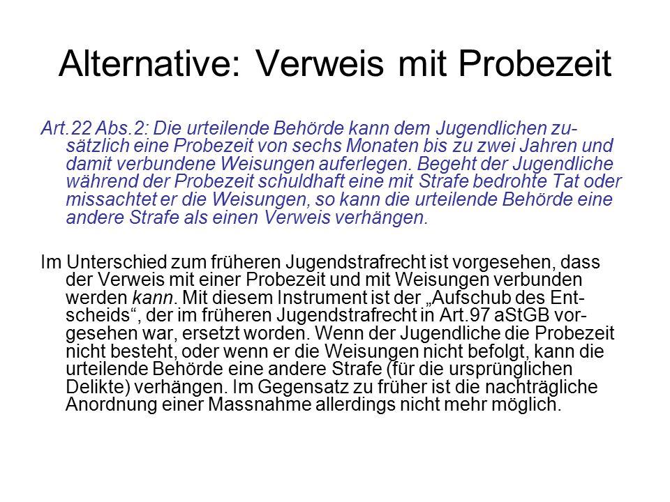 Alternative: Verweis mit Probezeit