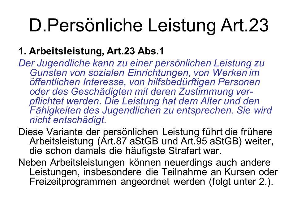 D.Persönliche Leistung Art.23