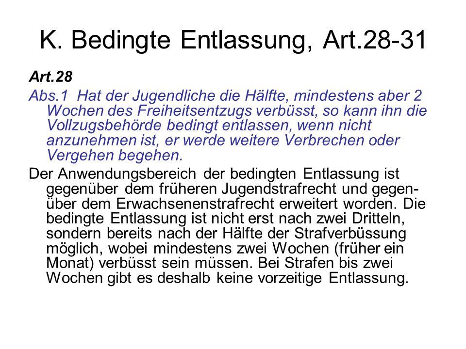 K. Bedingte Entlassung, Art.28-31