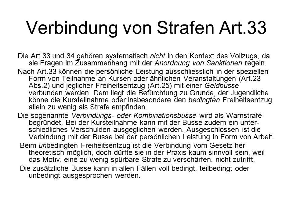 Verbindung von Strafen Art.33