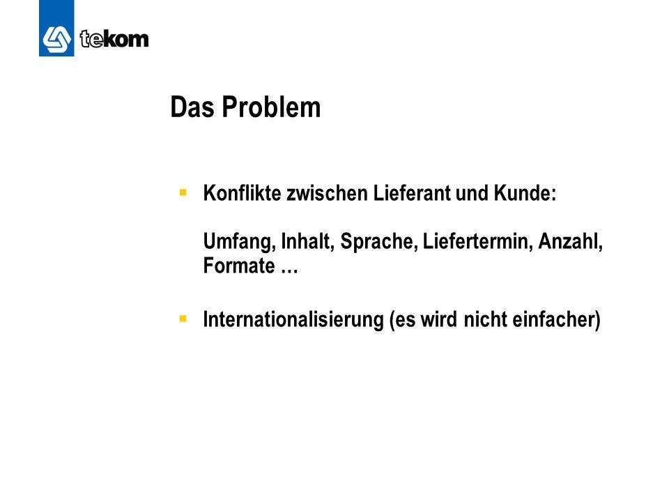 Das Problem Konflikte zwischen Lieferant und Kunde: Umfang, Inhalt, Sprache, Liefertermin, Anzahl, Formate …