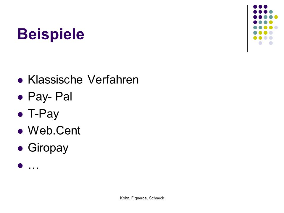 Beispiele Klassische Verfahren Pay- Pal T-Pay Web.Cent Giropay …
