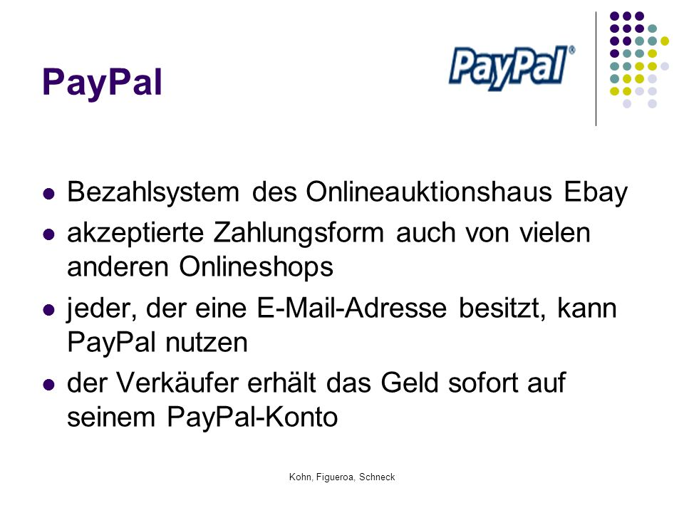 PayPal Bezahlsystem des Onlineauktionshaus Ebay